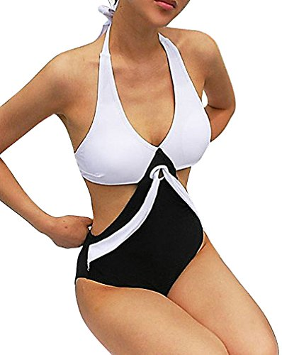 BKNY, Women's Retro White Black 1 Piece Bikini Pool Vintage Style Swimwear, Large
