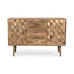 Kitchen Zona Mid-Century Modern Mango Wood 3 Drawer Sideboard with 2 Doors, Natural modern buffet sideboards