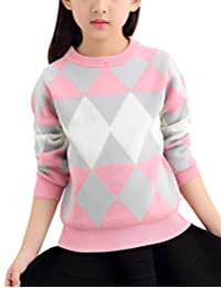 MFrannie Girl Casual Mixed Color Diamond Graphic Warm Pull On Sweater