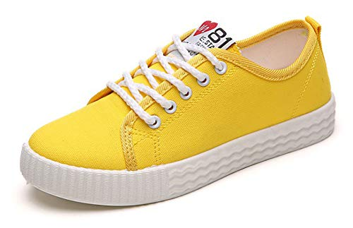 SFNLD Women's Casual Canvas Shoes Round Toe Flats Heels Lace-Up Suede Sneaker Low Top Fashion Walking Shoes Yellow 7 M ()
