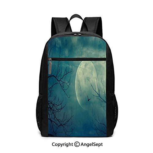 17 Inch Backpack School Bags,Halloween with Full Moon in Sky and Dead Tree Branches Evil Haunted Forest,Blue,6.5
