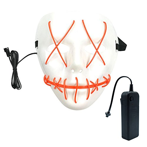 BRELONG Halloween Mask Ghost Slit Mouth Light Up Glowing EL Wire Fashion Costume For (Flash Drive Halloween Costume)
