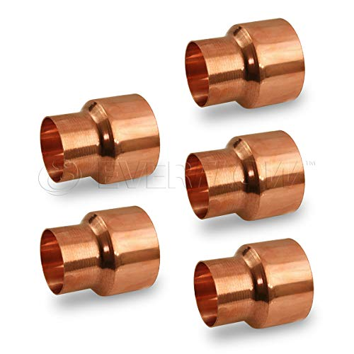 Everflow CCRC3814-5 Reducing Copper Coupling Fittings With With Sweat Ends And Rolled Tube, 3/8 X 1/4 Inch,