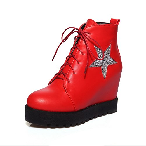 Wheeled Heel Red Shoes Solid Leather Girls AdeeSu Bandage Imitated Boots gqxvyE