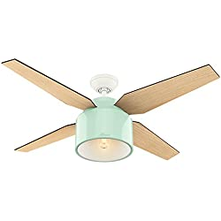 Hunter 59258 Contemporary Cranbrook Mint Ceiling Fan with Light & Remote, 52""