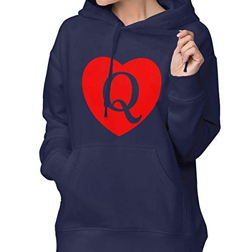 (RS-pthrAA Women's Pullover Hoodie Queen of Hearts Sweater Shallow Sweater with Pocket)