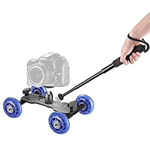 Neewer Camera Dolly Kit Includes: Mobile Rolling Slider Dolly Skater, Mini Ball Head and 4-Section Extendable Handheld Monopod Pole Selfie Stick for Nikon Canon Sony DSLRs, Video and Camcorders