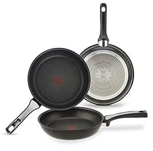 Tefal Expertise - Set de 3 sartenes de aluminio de 21, 24 y 26 cm, antiadherente con extra de titanio, para todo tipo de cocinas incluido inducción