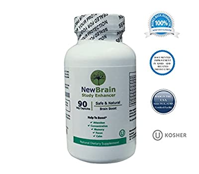 New Brain Study Enhancer - Alternative Medicine Herbal Supplement to boost Attention, Concentration, Memory, Focus and Calm 90 CAPSULES
