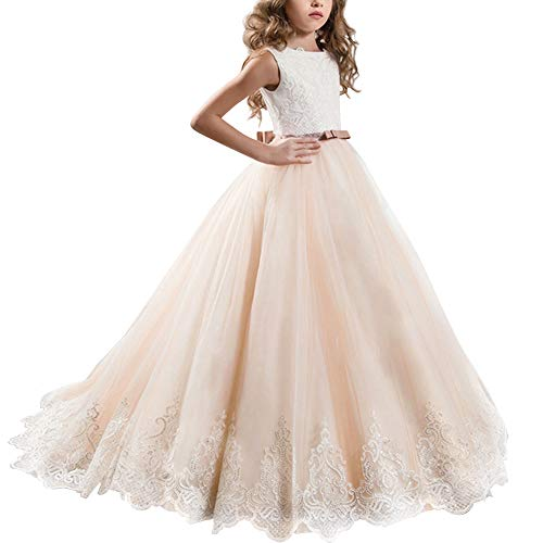 Stunning V-Back Luxury Pageant Tulle Ball Gowns for Girls 2-12 Year Old #H Champagne 12-13 Years