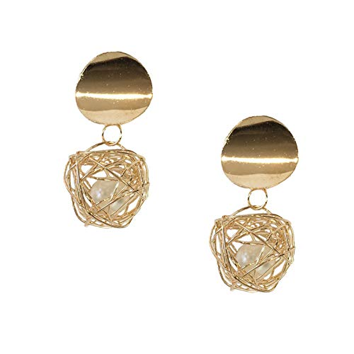B Jewelry Collection Caged Simulated Pearl Drop Earrings, Golden