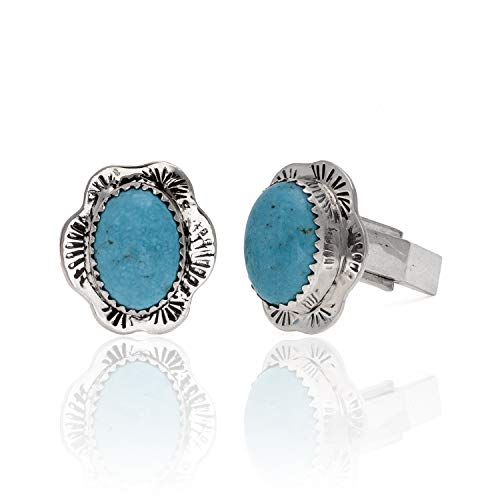 - Handmade Certified Authentic Navajo .925 Sterling Silver Natural Turquoise Native American Cuff Links