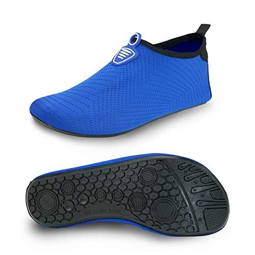 MET520 Men Women Water Shoes Quick-Dry Aqua Socks BarefootSlip-on for Sport Beach Swim Surf Yoga Exercise Embossed BlueWomen Size 9 10 / Men Size 8 9