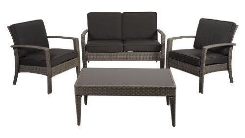 Atlantic 4-Piece Tahiti Deluxe Wicker Conversation Set with Grey Cushions