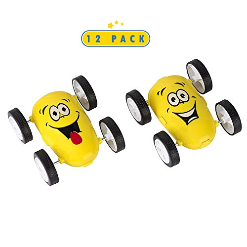 12 Pack Emoji Party Favors Friction Stunt Cars - Car Novelties Emoji Toys For Kids (Return Gift For Birthday Party)