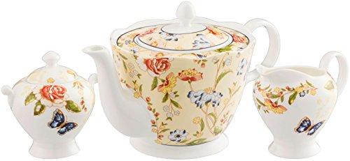 Aynsley Cottage Garden 3 Piece Set (Teapot, Cream & Sugar)