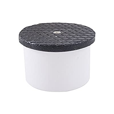 """Jones Stephens, JS 4"""" PVC Inside Pipe Fit Cleanout with 4-1/2"""" Cast Iron Round Cover - C60171"""