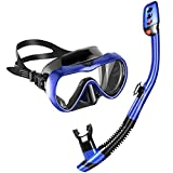 MOVTOTOP Snorkel Set with Tempered Glass & Full-dry Top Snorkel, Anti-fog Diving Mask Panoramic Scuba Mask, Food-Grade Silicone Mouthpiece for Men, Women
