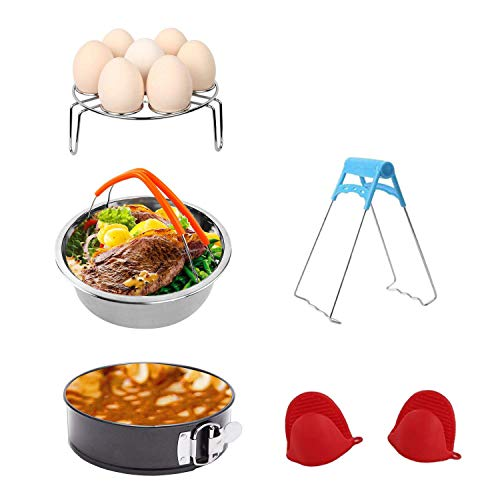 Accessories Set for Pressure Cooker with Steamer Basket, Egg Steamer Rack, Non-stick Springform Pan, Steaming Stand, 1 Pair Silicone Cooking Pot Mitts 5 Pieces-Fits 5,6,8Qt