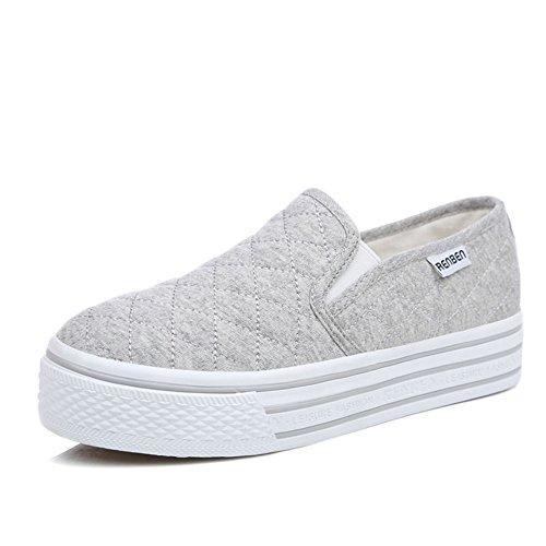 Zapatos Primavera,Las Mujeres Con Zapato Blanco Pequeño,Mujeres Casuales Zapatos Del Estudiante,Zapatos De Suela Gruesa Plataforma De Mocasín Blanco B