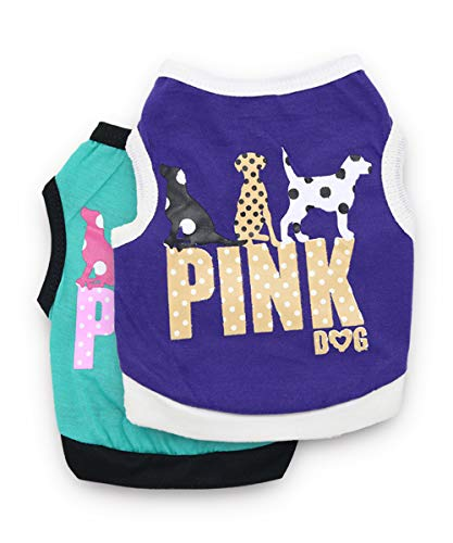 DroolingDog Dog Pink Dog Shirts Dog Clothes Small Dogs, Pack of 2