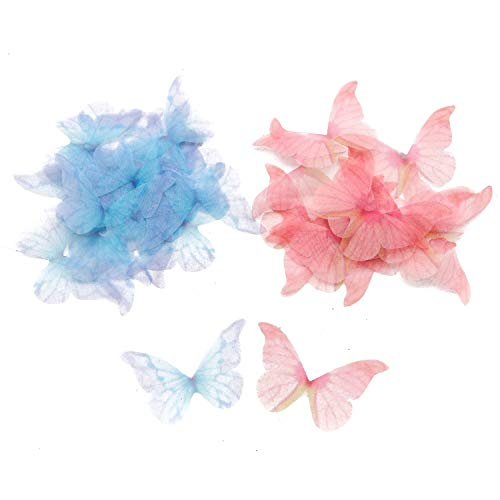 (JETEHO 40 PCS Beautiful Butterfly Wings Charms for DIY Jewelry Crafts Making Earring Necklace Hair Clip Decoration (Blue & Pink))