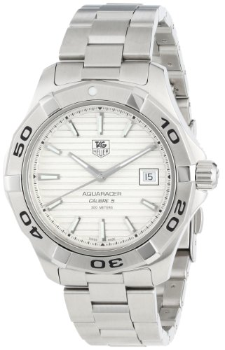 Aquaracer Silver Dial - TAG Heuer Men's WAP2011.BA0830 Aquaracer Calibre 5 Silver Guilloche Dial Watch