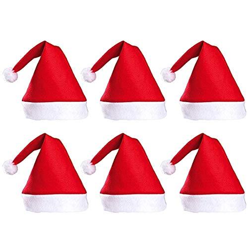 DH 6 Pcs Adults Christmas Santa Hats - Unisex Economical Classic Red Felt Santa Clause Caps for Xmas Party ()