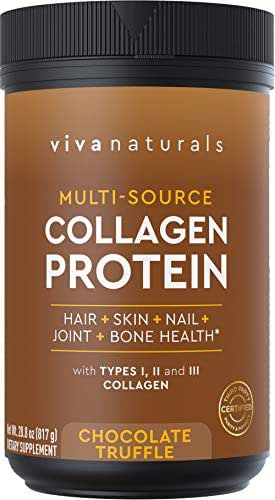 Multi Collagen Protein Powder - Chocolate Collagen Powder for Healthy Hair Skin and Nails, Tastes Great in Morning Coffee, Smoothies and Shakes - Paleo and Keto Friendly, 28.8 oz