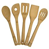 """Totally Bamboo 5-Piece Cooking Utensil Set, Solid Bamboo cooking tools, each 12"""" Long"""