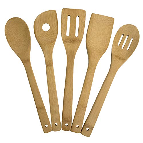 Totally Bamboo 5-Piece Cooking Utensil Set, Solid Bamboo cooking tools, each 12