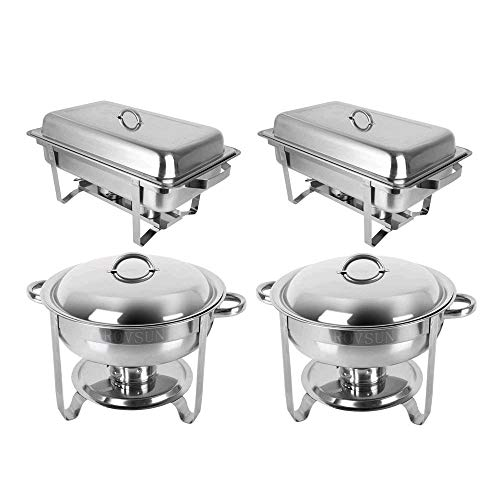 ROVSUN 2 Round & 2 Rectangular Chafing Dish Full Size Upgraded Stainless Steel Buffet Catering Warmer Set with Food and Water Trays, Mirror Cover, Thick Stand Frame for Kitchen Party (Rectangular Buffet Stand)