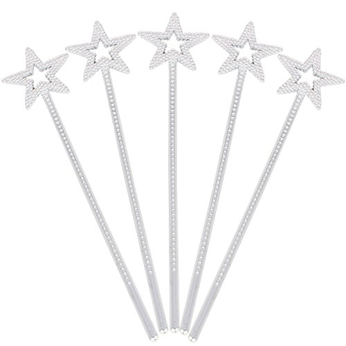 XiangGuanQianYing 13.4 Inch Princess Wands Princess Party Supplies Scepter and Star Princess Wand(Silver 5 Pack) -
