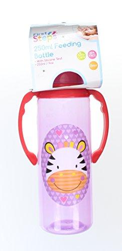 First Steps Jungle Pals Gripper Baby Feeding Bottle Silcone Teat BPA Free 250ml-Purple Zebra