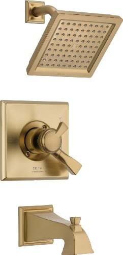 Delta Faucet Dryden 17 Series Dual-Function Tub and Shower Trim Kit with Single-Spray Touch-Clean Shower Head, Champagne Bronze T17451-CZ (Valve Not Included)