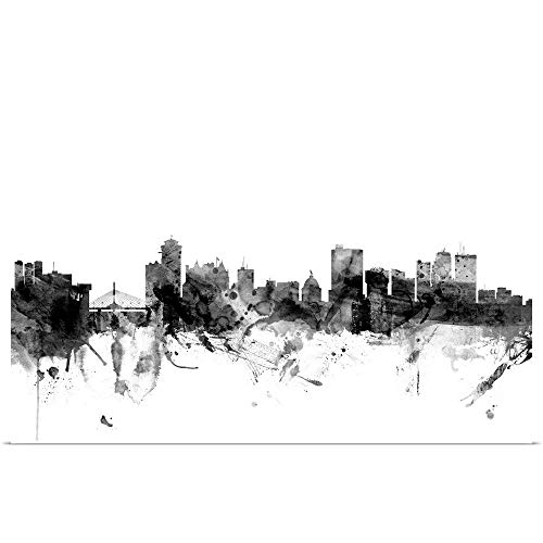 GREATBIGCANVAS Poster Print Entitled Winnipeg Canada Skyline, Black and White by Michael Tompsett 18