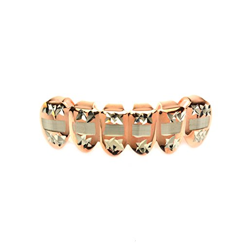 Metaltree98® Top Grillz Fashion Rose Gold Plated Diamond Cut Bottom 2 Tone Mouth Caps S 001 C3 RG (Gold Teeth Wax compare prices)
