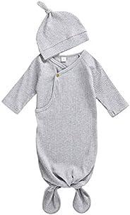 Unisex Newborn Baby Girl Boy Sleepwear Side-snap Sleeping Bag Knotted Sleeper Gown Solid Color Pajamas with Ha