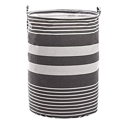 "Haundry Collapsible Laundry Basket, 22'' Tall Large Round Laundry Hamper for Clothes Storage - Tall Laundry Basket ---15.75"" x 21.65"", larger and taller than usual linen laundry basket, large hampers for laundry storage, boys girls toy storage, baby product's storage and pet product's storage. Sturdy Cloth Laundry Basket --- Durable Structure, which means has strong wire frame on the top of edge holds the shape of brim and being made of fine linen fabric allows laundry hamper to stand up upright even when empty. Waterproof Laundry Hamper --- high quality canvas fabric with waterproof PE coating inside, keeps washing clothing from wet. - laundry-room, hampers-baskets, entryway-laundry-room - 414lJzuIJtL. SS400  -"