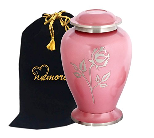 MEMORIALS 4U Memorials4u Avondale Pink Pearl Rose Brass Cremation Urn for Human Ashes - Adult Funeral Urn Handcrafted and Engraved - Affordable Urn for Ashes - Large Urn Deal -