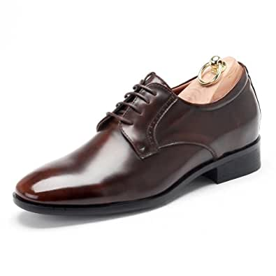 Men's 2.4 inches UP Elevator Lace-Up Brown Leather Dress Shoes By Angel Cola 10