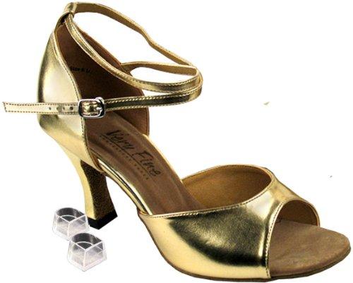 Very Fine Women's Salsa Ballroom Tango Latin Dance Shoes Style 6012 Bundle with Plastic Dance Shoe Heel Protectors, Gold Leather 7 M US Heel 3 Inch