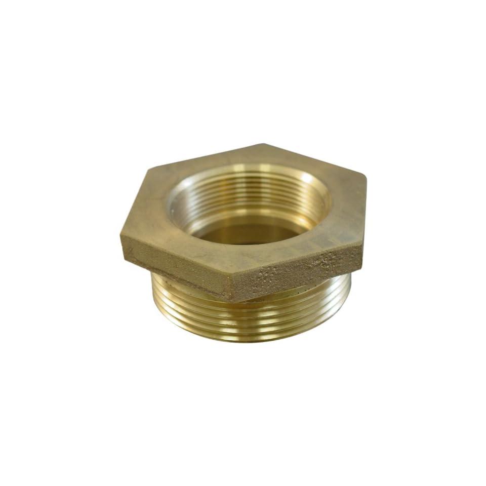 Moon 357 1511521 Brass Fire Hose Adapter, Nipple, 1 1/2 NPSH Female x 1 1/2 NH Male