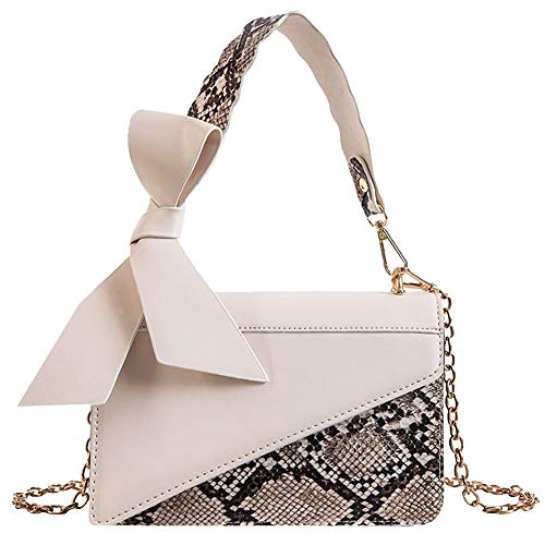 - LABANCA Womens Evening Handbags Chain Shoulder Crossbody Satchel Bag Purse Snakeskin Pattern Top Handle Bags White