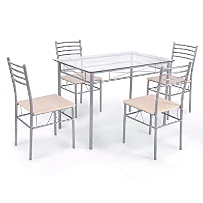 Giantex 5 Piece Dining Set Table and 4 Chairs Glass Top Kitchen Breakfast Furniture - 【Sturdy Frame】This Giantex chair and table set follows the scientific principle, and has tough iron pipe frame, which makes the mental frame is more solid and safe to use. 【Easy to Install and Good Weight Capacity】 This table and chair set could seat 4 person at a time, easy to install, the weight capacity is good. This product has straight forward illustrations and descriptions. Every screw and pin has its own code and it's easy to understand the assemble progress. It won't take you much time and could save your energy. 【Multifunctional Usage】 This chair and table set is perfect for you to have your meals or invite your friends. It has elegant and simple design, which could suitable for different decor design. A perfect size for most living room, balcony or dining room. - kitchen-dining-room-furniture, kitchen-dining-room, dining-sets - 414lKe5VCvL. SS400  -