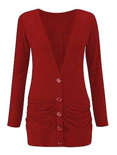 Ladies Womens Longsleeve Button up Boyfriend Pocket Cardigan Size 8-26 Rouille