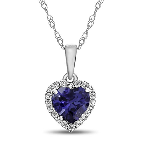 Finejewelers 10k White Gold 6mm Heart-Shaped Created Blue Sapphire with White Topaz accent stones Halo Pendant -