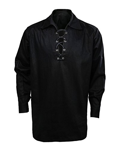 Men's Scottish Jacobite Ghillie Kilt Highland Shirt Long Sleeve Lace up Medieval Renaissance Pirate Costume Shirt (X-Large, Black)