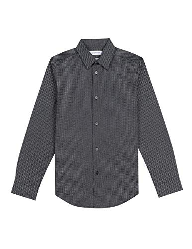 - Calvin Klein Big Boys' Long Sleeve Fashion Print Woven Shirt, Print Black, 8