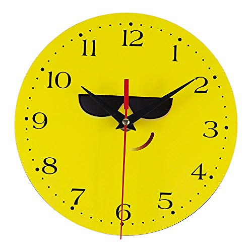 Huangou Creative Style Wall Clock, 12 Inch Wooden Silent Non-Ticking Kitchen Wall Clocks with Night Lights for Indoor/Outdoor Living Room Bedroom Decor Battery Operated (Approx 20cm X 20cm, A)